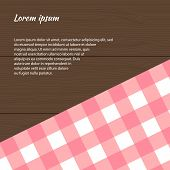 Pink Checkered Picnic Tablecloth On The Wooden Background