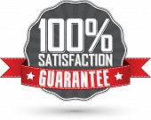 Satisfaction Guarantee Retro Label With Red Ribbon, Vector Illustration