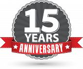 stock photo of 15 year old  - Celebrating 15 years anniversary retro label with red ribbon vector illustration - JPG