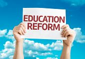 Education Reform card with sky background