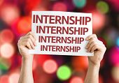 Internship card with colorful background with defocused lights