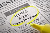 HTML5 Senior Game DeveloperVacancy in Newspaper.