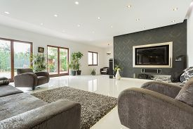 image of enormous  - Enormous living room in expensive house horizontal - JPG