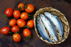 pic of raw materials  - Veitnamese food braised fish with tomato a popular dish in Vietnam meal cheap tasty nutrition and fresh raw material fish stew with fish sauce sugar season with tomato spice - JPG