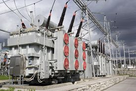 picture of transformer  - Electrical power transformers in high voltage substation - JPG