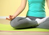 pic of guru  - Hand yoga gesture on bright background - JPG