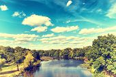 pic of cloud forest  - Landscape with river forest blue sky and clouds - JPG