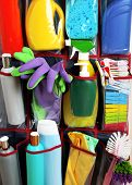 picture of household  - Household chemicals in holder - JPG