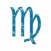 foto of virgo  - Grunge blue icon with zodiac virgo symbol - JPG