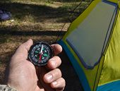 pic of compass  - Compass and tourist tent - JPG