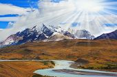 image of snow capped mountains  - Beautiful summer morning in Patagonia - JPG