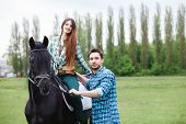 picture of appaloosa  - pair of lovers walk with a horse - JPG