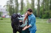 pic of appaloosa  - pair of lovers walk with a horse - JPG