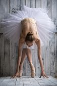stock photo of tutu  - Ballerina dressed in white tutu makes lean forward - JPG