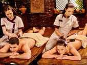 pic of ayurveda  - Couple man and woman having oil Ayurveda spa treatment - JPG