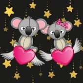 picture of koala  - Valentine card with Lovers Koalas on the flying hearts - JPG