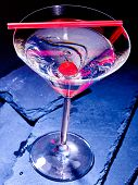 picture of black-cherry  - Transparent cherry cocktail on black background - JPG