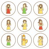 image of artemis  - Set of hand drawn icons with Greek gods for your design - JPG
