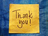 foto of thank-you  - thank you message handwritten on gold sticker - JPG