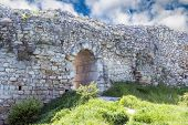 stock photo of fortified wall  - Ruins of ancient fortress wall in the museum of Chersonesos in Sevastopol town - JPG