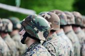 picture of corps  - Soldiers with military camouflage uniform in army formation - JPG