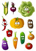 image of chili peppers  - Colorful fresh healthy farm vegetables characters with happy smiles with corn - JPG