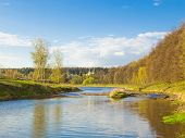 image of cloud forest  - The river on a sunny spring day - JPG