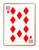 picture of ten  - The playing card the ten of diamonds over a white background - JPG