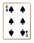 stock photo of spade  - The playing card the Six of spades over a white background - JPG