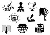 Black and white education or knowledge icons poster