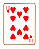 picture of ten  - The playing card the Ten of hearts over a white background - JPG