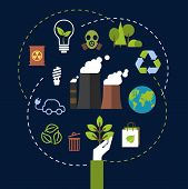 image of belching  - Environment and ecological conservation concept with green icons for recycling - JPG