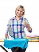 picture of homemaker  - Beautiful woman housewife ironed clothes and showing thumbs up isolated on white - JPG