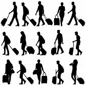 pic of carry-on luggage  - Black silhouettes travelers with suitcases on white background - JPG