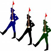 stock photo of parade  - Silhouette soldiers during a military parade - JPG