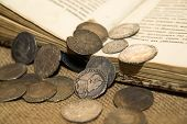 stock photo of coins  - A lot of old French silver coins with portraits of kings on the old cloth - JPG