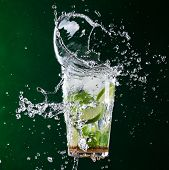 picture of freezing  - fresh mojito drink with liquid splash - JPG