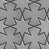 image of paving  - Gray Paving Slabs Laid in the Form of Stars and Crosses - JPG