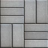 stock photo of paving  - Gray Pave Slabs Rectangles Arranged Perpendicular to Each other Two or Three Pieces - JPG