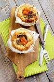 picture of leek  - Delicious Puff Pastry Snacks with Shrimps Leek and Cheese Oven - JPG