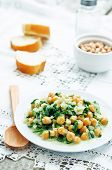image of chickpea  - chickpeas and spinach curry on a white background - JPG