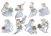 stock photo of marriage ceremony  - Sketches of brides in blue bridal dress holding bouquet of flowers for wedding and marriage ceremony design - JPG