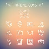 image of fish icon  - Travel thin line icon set for web and mobile - JPG