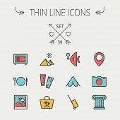 pic of fish icon  - Travel thin line icon set for web and mobile - JPG