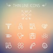 image of ambulance  - Medicine thin line icon set for web and mobile - JPG