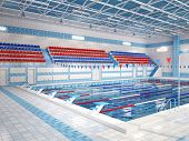 picture of grandstand  - 3D Illustration Of Interior Of Public Swimming Pool - JPG