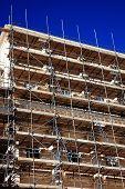 foto of scaffolding  - Scaffolding on a new London construction site - JPG