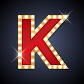 pic of letter k  - Vector illustration of realistic retro signboard letter K - JPG