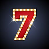 pic of number 7  - Vector illustration of realistic retro signboard number 7  - JPG
