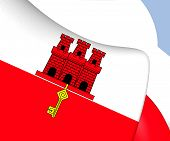 stock photo of gibraltar  - 3D Flag of the Gibraltar - JPG